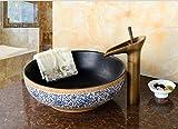 Hanmei antiguo lavabo sobre encimera oro doble Grifos