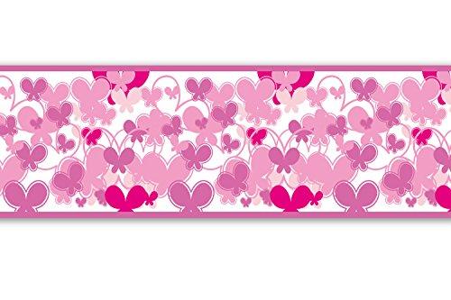 Selbstklebende Bordüre 'Schmetterlinge Pink', 4-teilig 560x15cm, Tapetenbordüre, Wandbordüre, Borte, Wanddeko,Muster, rosa