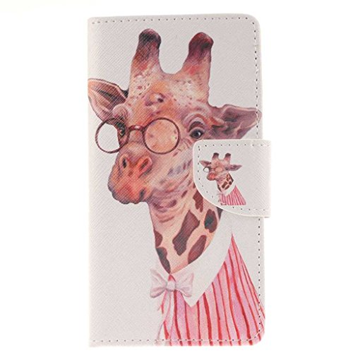 Sony Xperia M4 Case, KKEIKO® Leather Flip Wallet Case [with Free Tempered Glass Screen Protector], Elegant PU Leather Case with Protect Cover, Magnetic Clip Wallet with Card-Slots Cash Holder and Kickstand, Slim Fit Book Style Folio Case Cover for Sony Xperia M4 (Giraffe)