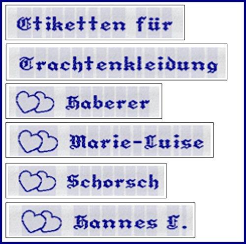 Etiketten für Trachtenkleidung B gewebt mit Ihrem Namen in BLAU zum Einnähen 50 Stück EXPRESSANFERTIGUNG