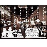 Junjie Nenu Christmas Wandaufkleber, Restaurant Mall Dekoration Schnee Glas Fenster Abnehmbare Wasserdicht Fensterscheibe Bad Gläser Einzelblattgröße 55x 36CM, kombinierte Größe: 110x 72CM