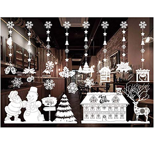 ODJOY-FAN Weiß Entfernbar Fenster Aufkleber Weihnachten Wandtattoos Restaurant Einkaufszentrum Dekoration Wandbilder Schnee Glas Wandaufkleber(E,1 PC)