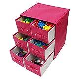 Kurtzy Aufbewahrungsboxen Stoff/Faltbare Aufbewahrungsbox - Schubladenboxen mit 6 Fächern - Schubladenschrank Organisator Einheit für Spielzeug, Schmuck, Make-up, Handwerke und Mehr