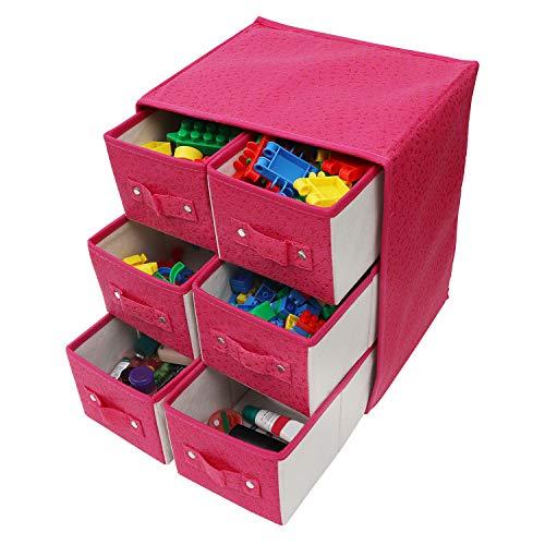 faltboxen stoff Kurtzy Aufbewahrungsboxen Stoff/Faltbare Aufbewahrungsbox - Schubladenboxen mit 6 Fächern - Schubladenschrank Organisator Einheit für Spielzeug, Schmuck, Make-up, Handwerke und Mehr