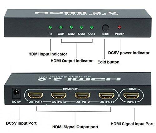 Zoetec True 4K UHD HDMI 2 0 HDCP 2 2 Bypass 4Kx2K 1 Input x 4 Output