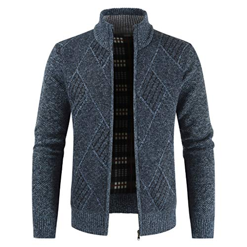 Giacca da Uomo Casual Cardigan Sweater Coats Inverno Calda Cardigans Chunky Maniche Lunghe Outwear(Marina Militare,3XL)