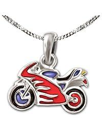 Clever Juego de joyas plateado Pequeño colgante de moto (12x 7mm, lacado multicolor y cadena tanque 38cm plata de ley 925para niños