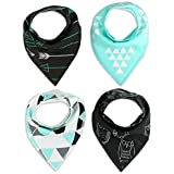 Baby Bandana Drool Bibs Burp Cloths Boys Girls Unisex With Snap Absorbent Cotton For Teething Feeding Hypoallergenic For Infant Boys Shower Gift Set 4 Pack By Busy Mom Geometrics Owl