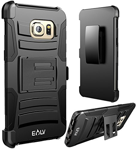 Elv Dual Layer Armor Holster Defender Full Body Protective Case Cover For Samsung Galaxy S7 Edge – Black