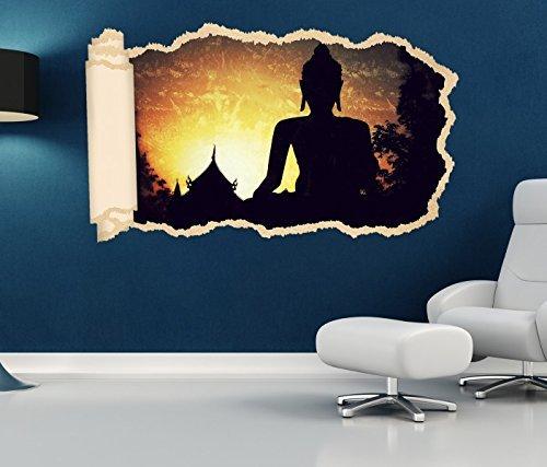 3D Wandtattoo Tapete Buddha Buddhismus Feng Shui Religion Wand Aufkleber Wanddurchbruch Deko Wandbild Wandsticker 11N1126, Wandbild Größe F:ca. 140cmx82cm