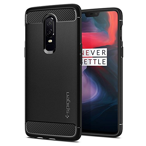 Spigen Rugged Armor Premium TPU Back Cover Case for OnePlus 6/One Plus 6/OP6 – Black K06CS23358
