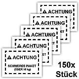 150x Schweres Paket Aufkleber, Groß 15x10cm, Kennzeichnung schwerer Pakete für Versand an Amazon FBA, 150 Stück