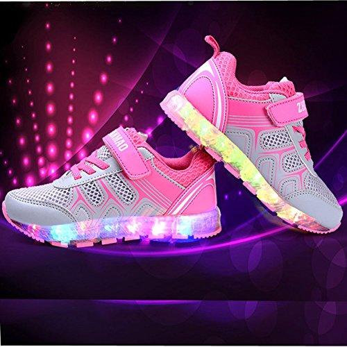 UDreamTime Kinder 3 Styles 7 Farben LED-Blitzen-Sneaker Rosa