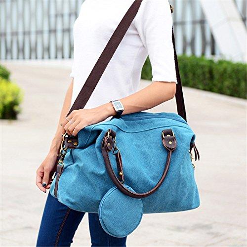 Cool&D Damen Canvas Tasche Mädchen Umhängetasche Shopper Schultertasche Leinwand Tragetasche für Freizeit Schul 42*16*29cm Blau