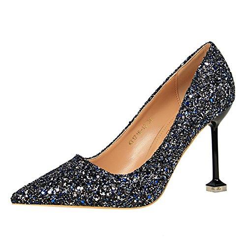 FLYRCX In stile europeo in autunno e inverno bocca poco profonda sottile tacco alto scarpe tacco personalità del mondo della moda di scarpe di partito H