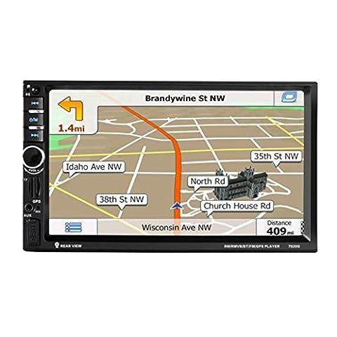Auto GPS Stereo Radio - Kingwo Auto MP5 / MP3 Player 7 '' HD Bluetooth Touchscreen Auto GPS Stereo Radio 2 DIN FM / MP5 / MP3 / USB / AUX Mit 1x Auto MP5,1x Adapterkabel, 1x Rahmen, 1x Fernbedienung, 1 X Kamera, 1x Metallhalter, 1x (Din-radio-install Kit)