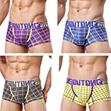 4 Pieces Underwear For Men Cotton Wicking Breathable U Convex Pouch Boxer Briefs Youth Fashion Printing, B, M