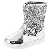 Mädchen Glitzer Boots Stiefel mit Reissverschluss in 3 Farben (26, #113si Silber)