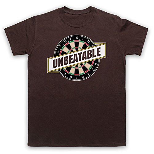 Darts Unbeatable Darts Slogan Herren T-Shirt Braun