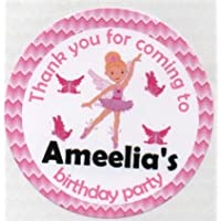 "Fairy Ballerina & Butterfly Design ""Thank you for coming to....."" Stickers - PERSONALISED A4 Sheet of 15 x 50mm Round Party Bag Stickers"