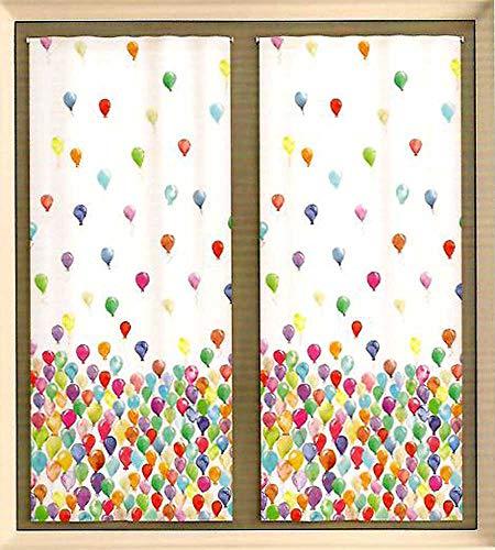 Coppia tende tendine palloncini pezzoli camera cameretta bambini (60 x 150 cm)