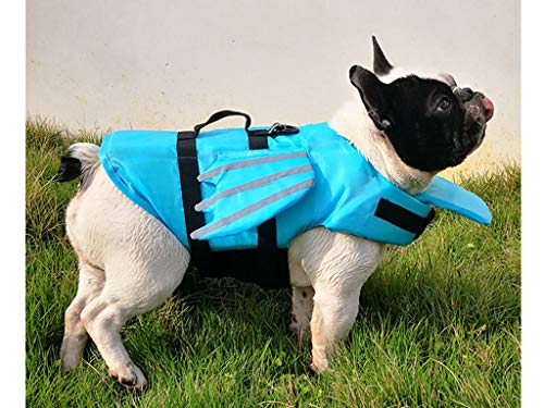 Schwimmhilfe für Hunde, Hundeschwimmweste Schwimmtraining Dog Flotation Device, Schwimmmantel , Reflektierende Weste Verstellbare Outdoor-Badebekleidung Sommer Badebekleidung für Hunde (Blue, L)