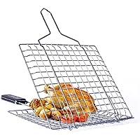 dingsheng cuadrado peces red de oveja pollo barbacoa clip carpeta acero inoxidable barbacoa para asar a la parrilla de barbacoa portátil Barbacoa parrilla cesta Red para pescado verduras carne Camarón