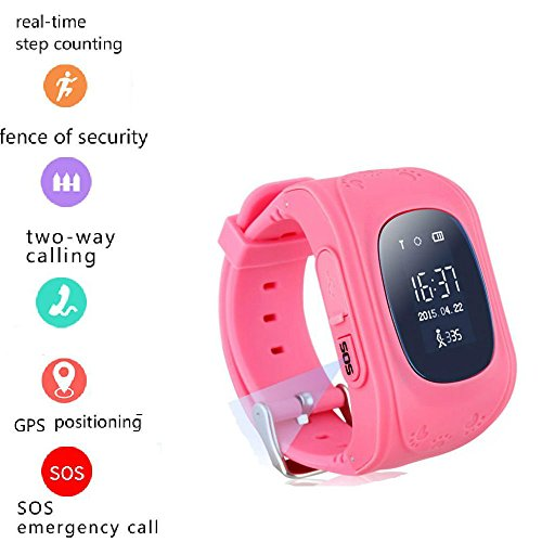 Tkstar bambini Smartwatch Impermeabile GPS Tracker Localizzatore Orologio da polso Telefono SIM anti-perso braccialetto SOS allarme App per Apple iPhone iOS Samsung Huawei Xiaomi Android Phone Q50