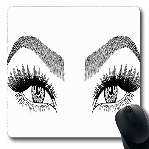 Luancrop Mousepads Modellanwendung Augen Augenbrauen Make-up Look Gesicht Wimpern Augenbrauenbürste anwenden Nahaufnahme rutschfeste Gaming-Mausunterlage Längliche Gummimatte -