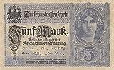 Deutsches Reich Rosenbg: 54a, 7stellige Kontrollnummer, Vs. grauviolett leicht gebraucht (II) 1917 5 Mark (Banknoten für Sammler)