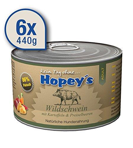 hopey-s-getreidefreies-Perros-Forro-Jabal-con-patatas-preiselbeeren-86-Carne-6-x-440-g-latas