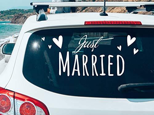 GRAZDesign Autoschmuck Hochzeit schöne Schrift - Autoaufkleber Just Married - Hochzeitsauto Deko mit Herzen / 70x30cm / 010 weiß