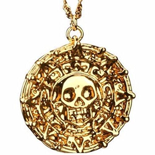 Fluch der Karibik Halskette Azteken Gold (18 K vergoldet) Pirates of the Caribbean Jack Sparrow Elizabeth Swan (Sparrow Medaillon)