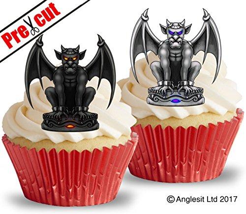 vorgeschnittenen Gargoyles essbarem Reispapier/Waffel Papier Cupcake Kuchen Topper Halloween Gothic Party Dekorationen - Gothic Gargoyle