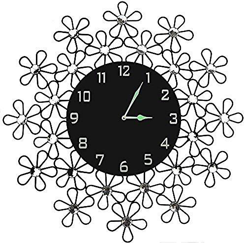 AIHANEN 23 5' Metal Wall Clock 11' Esfera de Cristal Negro con números árabes Reloj de Pared Decorativo para salón. Espacio de Oficina