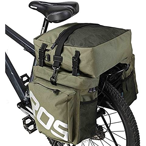 ROSWHEEL 3 in 1 multi-funzione biciclette Pocket Bike bicicletta borsa sedile posteriore borsa - verde militare