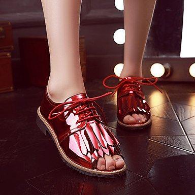 LFNLYX Donna Sandali Comfort estivo brevetto ufficio in pelle & Carriera Casual Party & Sera Chunky Heel Lace-up fiocco rosso grigio scuro a piedi Red