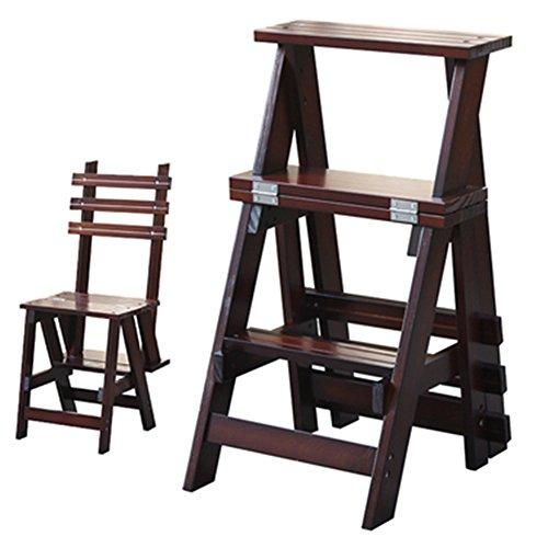 CHAOXIANG Pliable Escalier Tabouret Multifonction À Double Usage Portable 3 Étapes Épaissir Chaise Bois De Pin 2 Couleurs (Couleur : Couleur Primaire)