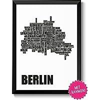 BERLIN-KARTE - Bild mit Berliner Stadtbezirken im Rahmen - Geschenkidee Geburtstag Umzug Einzug Frauen & Männer