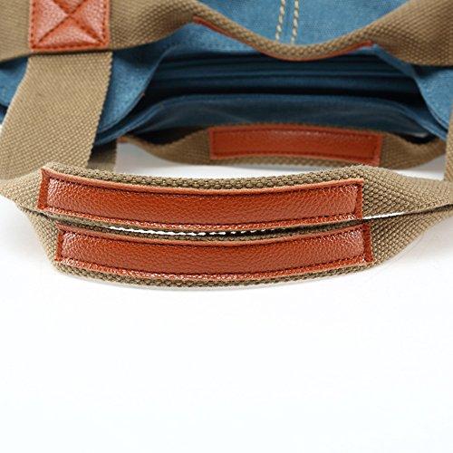 Yvonnelee Canvas Tasche Handtasche Henkeltasche Schultertasche Umhängetasche für Damen und Frauen Schulterriemen Abnehmbar - Braun Schwarz