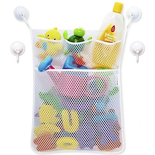 4 Lagerung Cubbies (Baby Badespielzeug Aufbewahrung Spielzeug Mesh Net Organizer-Halter ordentliche Saugnapf Bag mit mehreren Taschen von D & & R, 4Bonus Starke Haken, 33x 45,7cm)