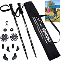 Trekking poles – pair with bag I Hiking and Walking poles for men and women, adjustable | Telescopic poles with attachments, rubber buffer I + free eBook