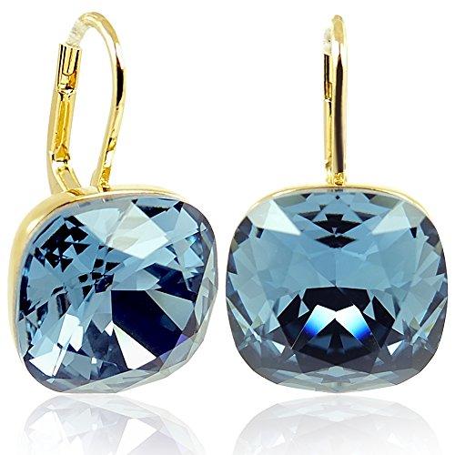 Ohrringe Blau mit Kristallen von Swarovski® Gold NOBEL SCHMUCK