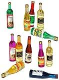 12 tlg. Set - Flaschen Wein - Kunststoff - Miniatur / Maßstab 1:12 - für Puppenstube - Puppenhaus Puppenküche - Flasche - Champagner Sekt Getränk Getränke Set Küche - Weinflaschen Alkohol - Getränke - Deko - Saft - Diorama