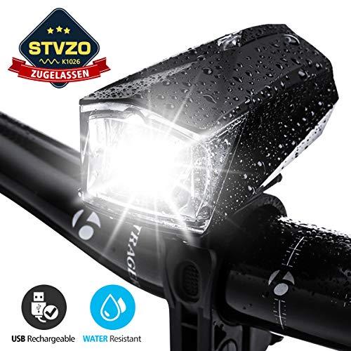 OUTERDO Fahrradlicht LED, StVZO Zugelassen Fahrradfrontlicht, mit USB Wiederaufladbere 1200mAH Fahrrad Frontlicht, wasserdichte Fahrradleuchte Schwarz