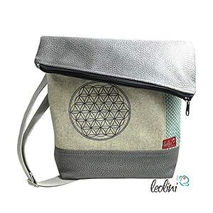 Foldover Tasche Blume des Lebens Lebensblume grau Stickerei Foldovertasche handmade Geschenk Damen