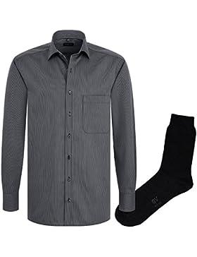 ETERNA Herrenhemd Comfort Fit, anthrazit gestreift, Cotelé + 1 Paar hochwertige Socken, Bundle