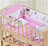 Neugeborene Krippe Solid Keine Farbe Holz Baby Cradle Rocking Bett Mit Bunten Bettwäsche-Sets Von 5,104 * 60Cm,Pinkmickey