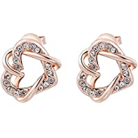 SaySure - Jewelry Rose Golden double heart Twine Austrian crystal (4 Double Wall Tip)
