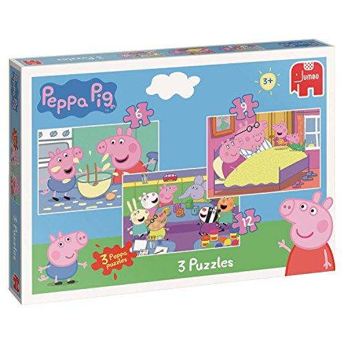 Jumbo Peppa Pig 3in1 Puzzle Pack - Puzzles (Floor puzzle, Cartoons, Preschool,...